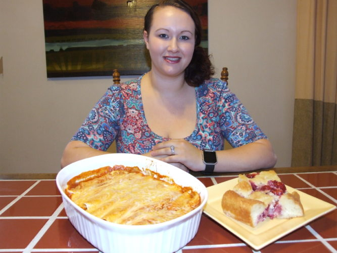 Busy wife, mom, cook, entrepreneur, Ashley Kaczar serves her family quick and delicious meals. Pictured are Easy Enchiladas, at left, and Cherry Delight.