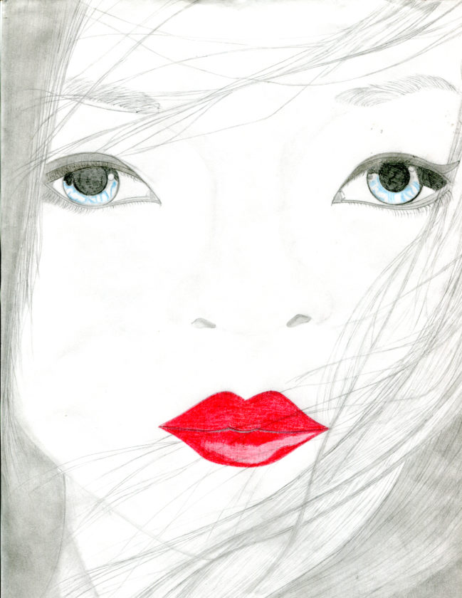 Quinones' drawing of a female face.