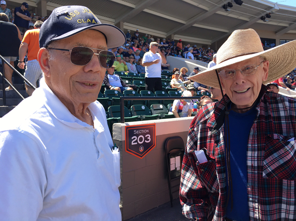 Jamestown resident Frank Stefanelli, left, and Mike Loftus of Kalamazoo, Michigan reunite at Publix Field at Joker Marchand Stadium in Lakeland, Florida, the spring training home of the Detroit Tigers. Stefanelli and Loftus served together on the USS Juneau during World War II. Photo by Greg Peterson
