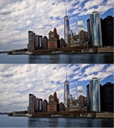 In the photos of the New York City skyline, I was shooting from the Staten Island Ferry and I was bobbing up and down trying to get a steady shot. When I took the photo, the city was falling to the left (top photo). After correcting the horizon, the photo is much more pleasing (bottom photo).                                                         Photos by Chad Ecklof