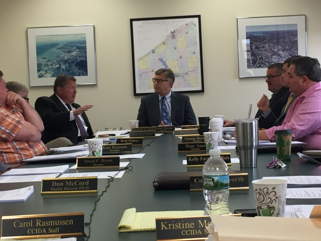 During a Tuesday meeting in Jamestown, the Chautauqua County Industrial Development Agency Board of Director's approved the revised agreement, which details an annual payment of $420,000 to the Dunkirk City School District, city of Dunkirk and Chautauqua County. Payments would begin during the school district's 2017-18 fiscal year and the city and county's 2018 fiscal year. P-J photo by Jimmy McCarthy