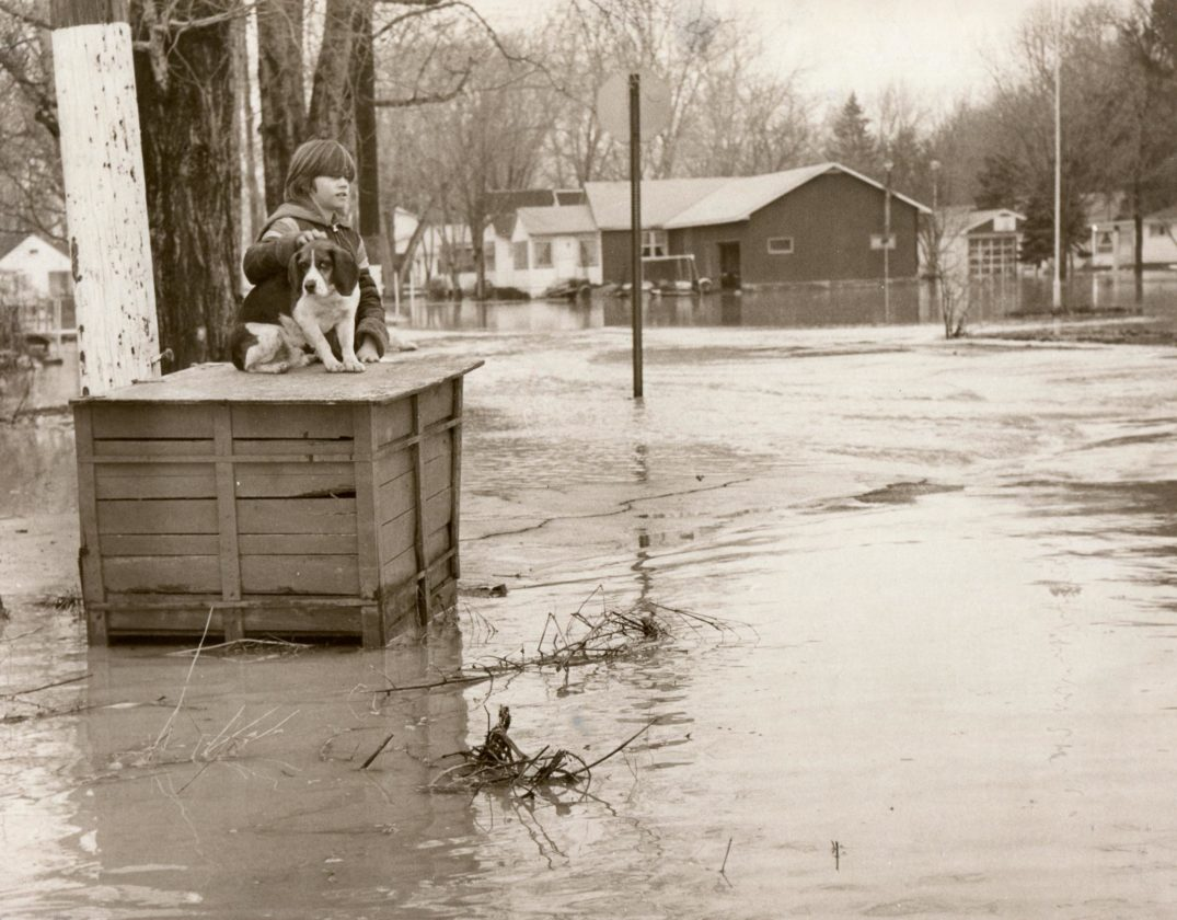 A photo of a boy and his ''best friend'' following a storm in March 1978 taken by Richard ''Dick'' Hallberg. Hallberg was a photographer with The Post-Journal for more than 40 years. P-J file photo