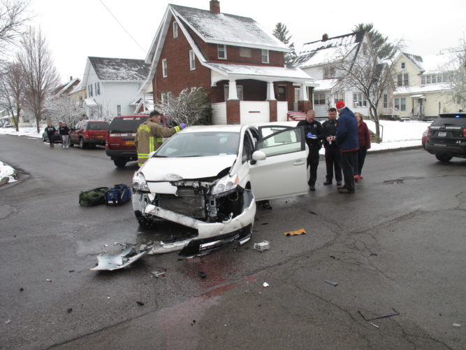 A woman and infant were treated Friday following a crash in the city. P-J photo by A.J. Rao