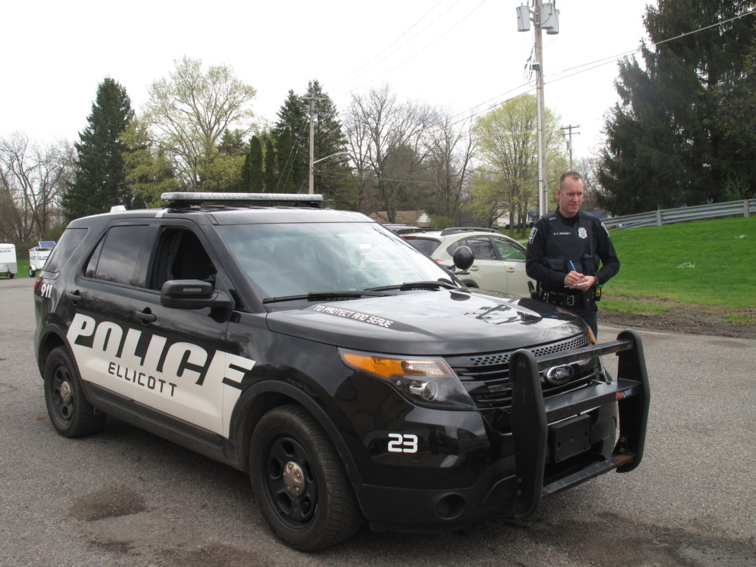 Pictured is Officer Michael Burgey with the Ellicott Police Department on the job.  P-J photo by A.J. Rao