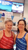Judy Young, left, and Karen Williams  are all smiles after their performances at the Allegheny Mountain YMCA Master Swimming Association Championships at Spire Institute in Geneva, Ohio earlier this month.  Submitted photo