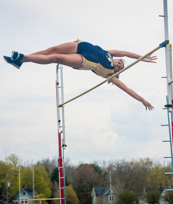 Falconer-Cassadaga Valley's Rachael Ward clears the bar in the pole vault on her way to winning the event Thursday afternoon. P-J photo by Valory S. Isaacson