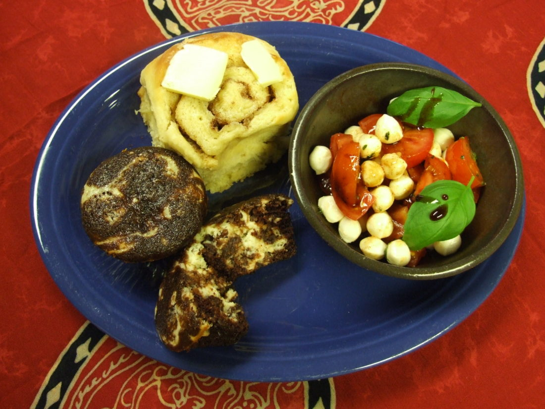 Scandinavian Roll, Caprese Salad with Balsamic Reduction and Black Bottom Cupcakes