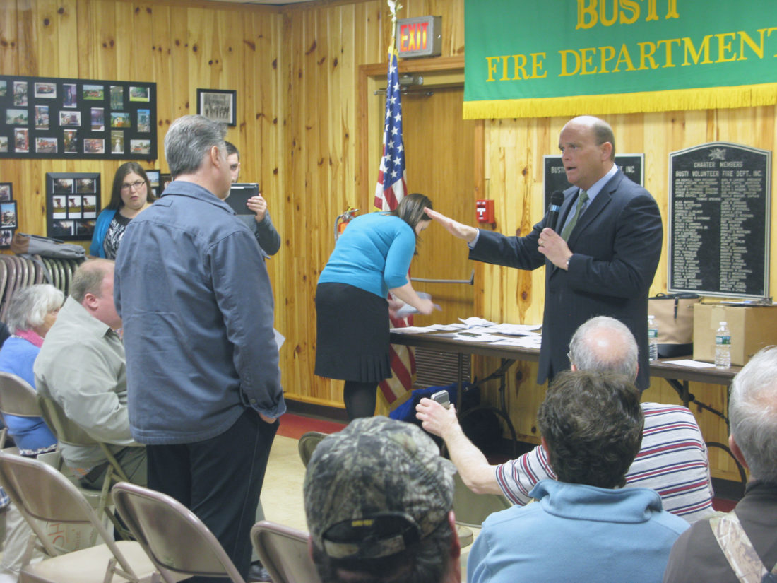 U.S. Rep. Tom Reed recently held two town hall meetings in Chautauqua County. As was the case earlier this year, Reed was met with backlash regarding his stance to repeal and replace the Affordable Care Act.  P-J photo by Eric Tichy
