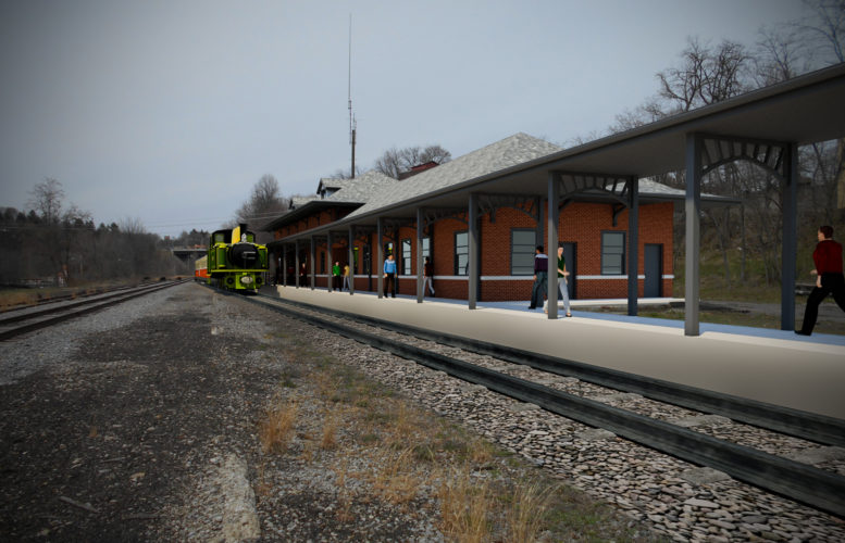 A conceptual drawing of the future Jamestown Area Railway Heritage Center. City officials are working to create a train depot at the former engine building that sits west of the Jamestown Gateway Train Station.