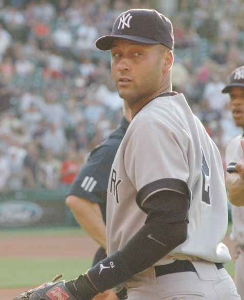 Jeter walks to the dugout before a game at Progressive Field in Cleveland in 2007