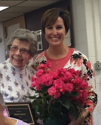 Volunteer of the Year Grace Kent is pictured with Chautauqua County Office for the Aging Executive Director MaryAnn Spanos.