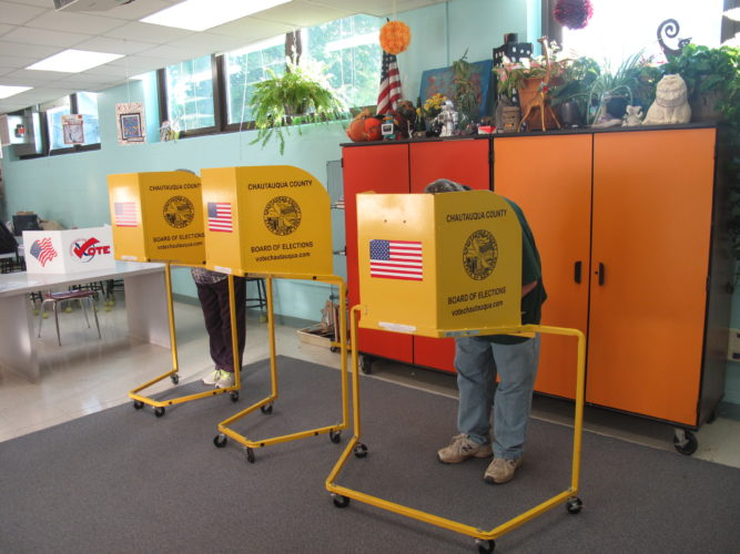 Jamestown residents voted at Lincoln Elementary School on Tuesday, one of three polling places in the city where voters decided whether to approve the school district's 2017-18 budget and who should be on the school board. P-J photo by A.J. Rao