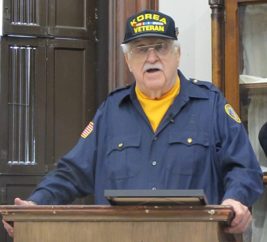 Pete Carlo, U.S. Army Veteran, speaking about his experience during the Korean War at the Fenton History Center.  P-J photo by Dennis Phillips