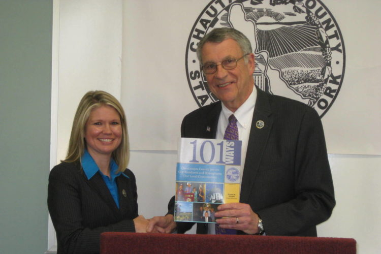 New Human Resources Dir. - Chautauqua County Executive Vince Horrigan welcomes Jessica Wisniewski as the new Chautauqua County Director of Human Resources Submitted photo