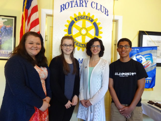 Four of the five high school students who recently attended the Rotary District 7090 SLAPSHOT leadership weekend in Ancaster, Ontario were, from left, Kaylee Thornton, Sherman CSD; Madeline Brogan, Brocton CSD; Jasmine Kiswani, Westfield Academy & CSD; and Keeshawn Smith, Bemus Point CSD. They gave insights about their experience during a recenty meeting of the Rotary Club of Westfield-Mayville.