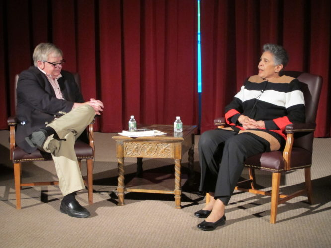 Greg Jackson interviews Carlotta Walls LaNier of the Little Rock Nine at an intimate event hosted by the Robert H. Jackson Center. P-J photo by Remington Whitcomb