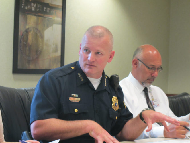 Harry Snellings, Jamestown public safety director and police chief, discussing drug activity in the Jamestown area during a Health Care Action Team meeting Thursday. P-J photo by Dennis Phillips