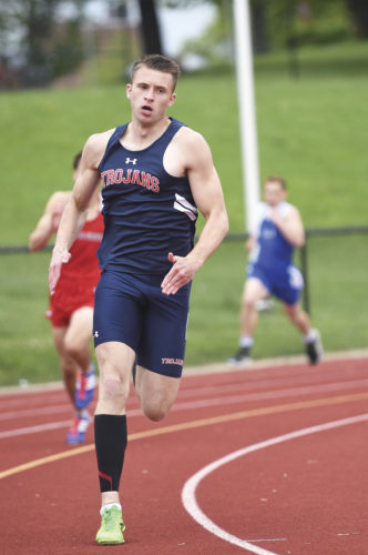 Southwestern's Jared Yaggie runs the 400-meter preliminaries Friday at the Chautauqua-Cattaraugus Athletic Association Track & Field Championships in Dunkirk. Photo by Roger Coda