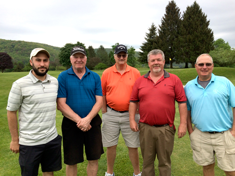 Pictured, from left, are: Jon Galandio, Stan Pizon, Jim Skudlarek, Dan Smith and Dan Blaske, who shot a 13-under-par 57 to win the Elkdale Spring Scramble at Elkdale Country Club last weekend. Submitted photo