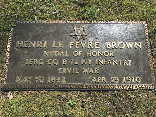 The grave marker of Henry Le Fevre Brown, one of three Medal of Honor recipients who will be recognized with a Blue Bow at his grave site Monday.
