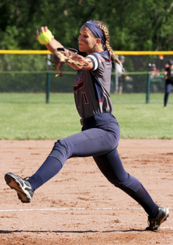 Chautauqua Lake's Olivia Anderson delivers to the plate during Saturday's Section VIClass C1 championship softball game against Cassadaga Valley. P-J photo by Lisa Monacelli