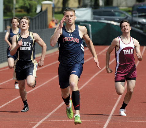 Southwestern's Jared Yaggie leads the way in the 400 meters at the Chautauqua-Cattaraugus Athletic Association Track & Field Championships on Saturday at Dunkirk High School. Photo by Justin Goetz