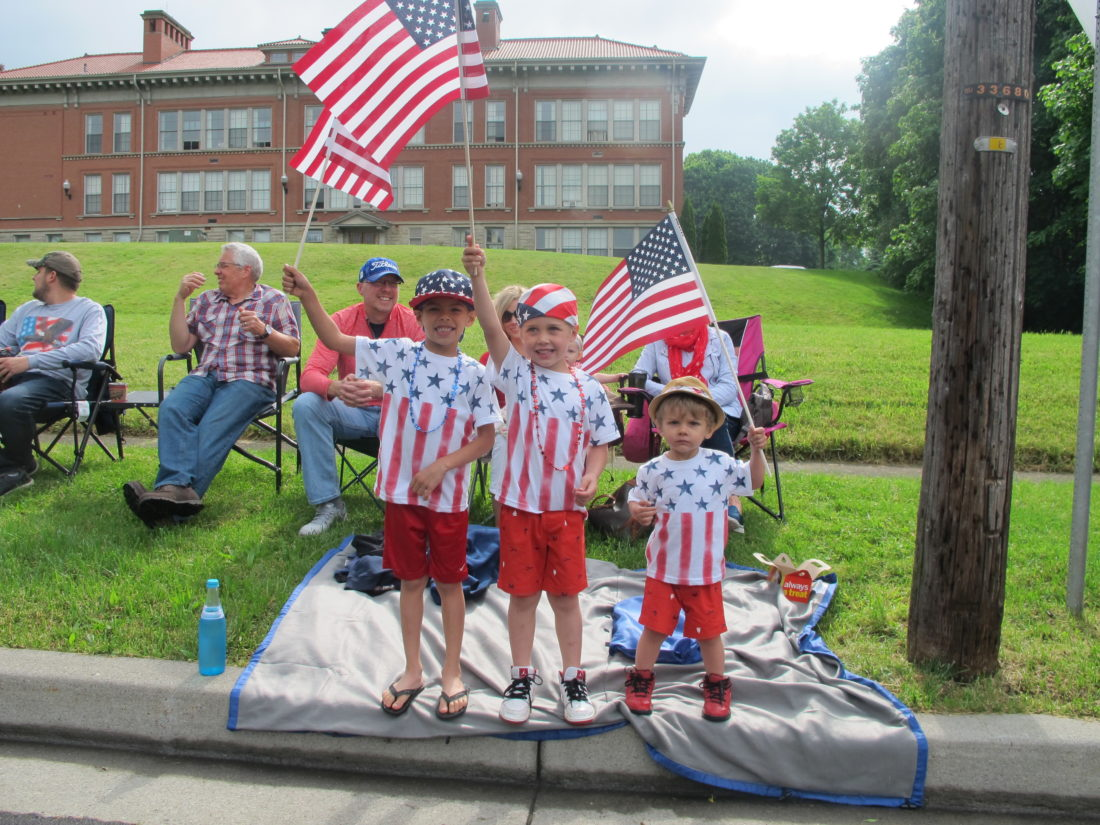 Pictured, from left, are Xavier Nickerson, Carter Nickerson and Paxton Nickerson putting their patriotism on display at the Jamestown Memorial Day parade. P-J photo by Remington Whitcomb