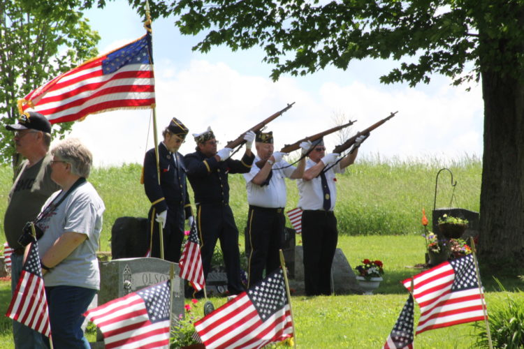 The Randolph American Legion Post 181 firing squad is pictured. P-JPhotos by Rose Mary Carver