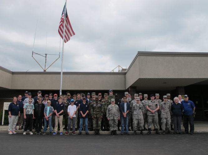 Members of the Royal Canadian Air Cadets, left side of photo, participated in an activated electronic locating transmitter training drill with members of the Civil Air Patrol, right side of photo, on Saturday at the Chautauqua County-Jamestown Airport.  P-J Photo by Remington Whitcomb