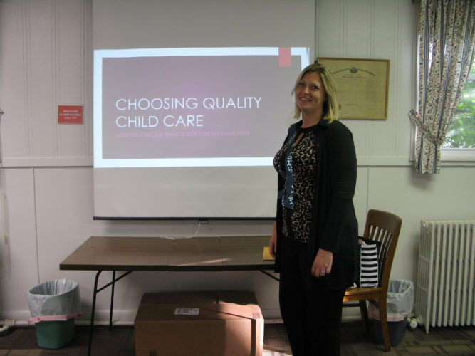 Beth Starks is pictured beginning her presentation on the importance of finding the right childcare provider. P-JPhoto by Meghan Siperek