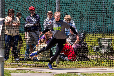 Clymer/Sherman/Panama's Nicole Johnson begins an attempt in the Division 2 discus.  P-J photos by Tim Frank