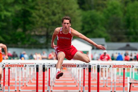 Maple Grove's Carson Crist runs the 110-meter hurdles as part of the Division 2 pentathlon. P-J photos by Tim Frank