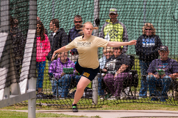 Falconer/Cassadaga Valley's Amber Morrison makes an attempt in the Division 2 discus during the Section VI Track & Field Championships on Friday afternoon at Strider Field in Jamestown. P-J photos by Tim Frank