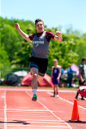Clymer/Sherman/Panama's Justin Svetz long jumps as part of the Division 2 pentathlon. P-J photos by Tim Frank