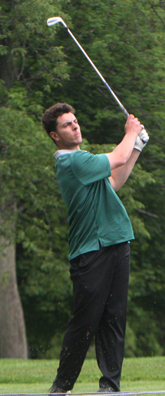 Defending individual champion Dante Migliore of Mohawk Valley Community College watches his tee shot on No. 6. Migliore shot a 2-under 70 and is two shots back. P-J photo by Scott Kindberg