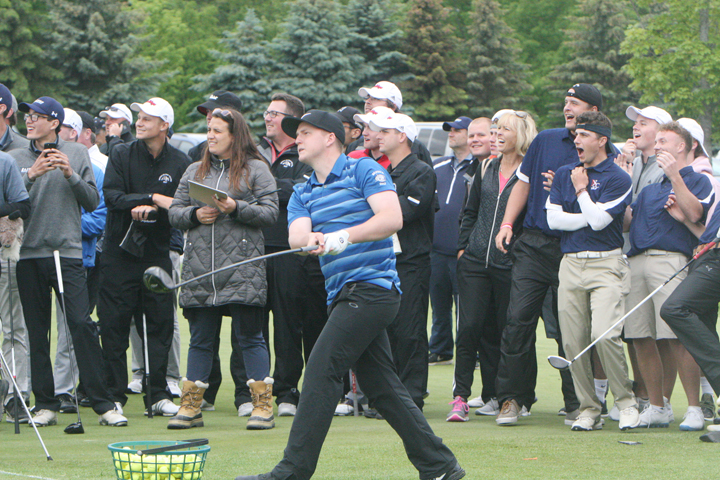 Patrick O'Halloran of Suffolk Community College won the long-drive competition that was held after the first round of the NJCAA Division III Golf Championships at Chautauqua Golf Club on Tuesday. O'Halloran's best drive measured 299 yards. P-J photo by Scott Kindberg