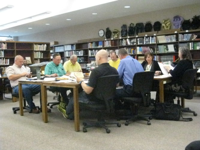 Frewsburg Central School Board of Education members are pictured discussing June topics, the end of the school year and the upcoming school year.