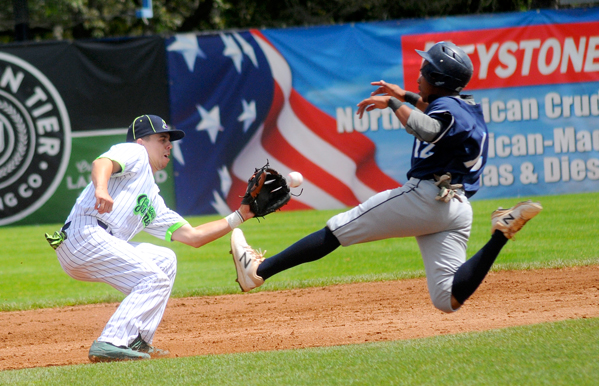 Jamestown Jammers second baseman Jimmy Standohar tags out Newark's D'Marcus Guillory attempting to steal during the third inning of Thursday's Perfect Game Collegiate Baseball League game at Diethrick Park. P-J photo by Matt Spielman