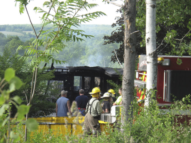 A Frewsburg residence was destroyed in a structure fire Friday afternoon. Fire officials could not determine a cause of the blaze.  P-Jphoto by Noah Rankin