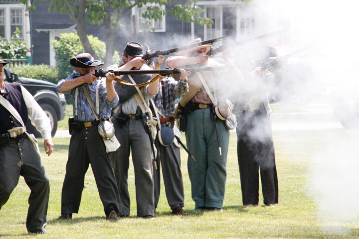 """Rebel soldiers take on the 9th New York Cavalry in the """"Standing Ground: a Civil War Living History"""" event in Westfield's Moore Park Saturday. P-Jphoto by Tonja Dodd"""