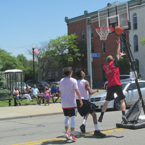 Participants in the Jam Fest basketball tournament play Saturday in Dunkirk. The first-ever festival continues today.   P-J photo by Damian Sebouhian