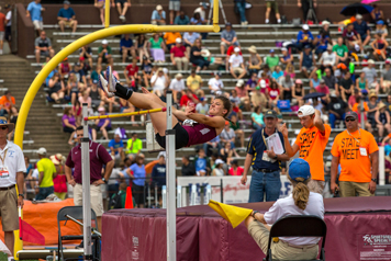 Dunkirk's Emilee Hanlon competes in the high jump at the New York State Public High School Athletic Association Track & FieldChampionships on Saturday at Union-Endicott High School. P-J photo by Tim Frank