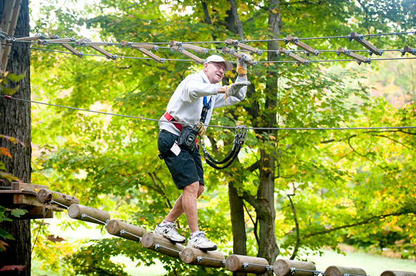 Art Asquith, pictured during a 2014 trip to the Sky High Adventure Park at Holiday Valley Resort in Ellicottville, will be honored by the Cassadaga Valley Central School District on Friday night. P-J file photo by Valory S. Isaacson