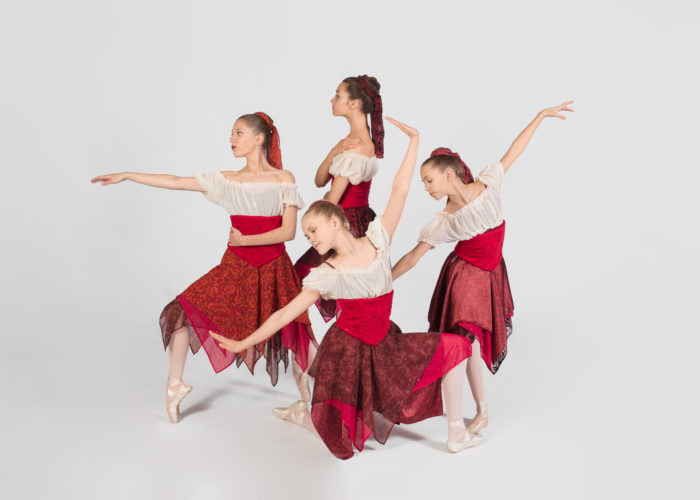 The Chautauqua Regional Youth Ballet will present its spring performance Saturday at the Reg Lenna Center for the Arts, beginning at 7 p.m. Under the direction of Monika Alch, the ballet company will perform ballet and modern dance works to music by Bach, Bayer, Corigliano, Mozart and Verdi. Pictured from left, clockwise, are pre-professional dancers Megan Stefanik, Cate Walter, Maya Swanson and Cecelia Johnson.  Submitted photos by Rob Sigler