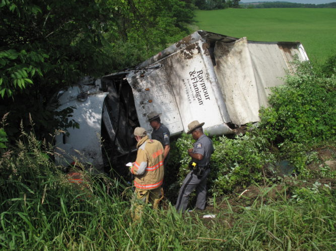 No serious injuries were reported after a delivery truck crashed Friday in Frewsburg.  P-J photo by A.J. Rao
