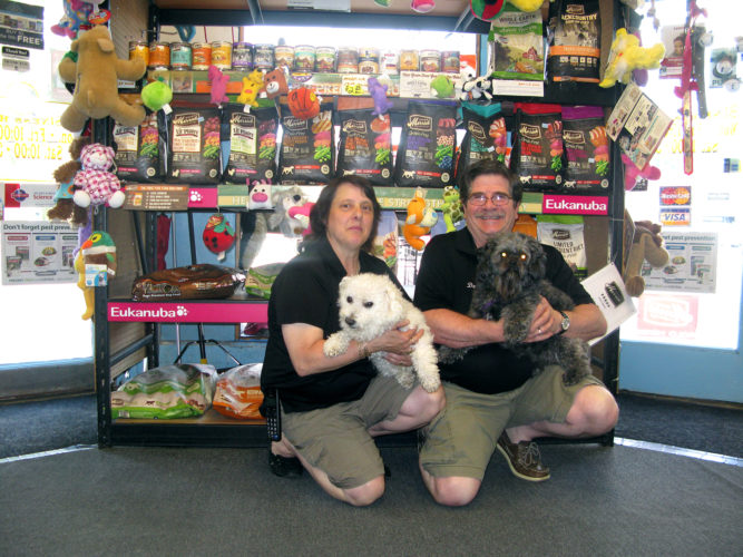 "Sylvia and Dan Magara are pictured with their ""store greeters"" Lotto and Buddy. The Magaras have owned and operated Blue Fin Pet Shop, 17 Main St., Falconer, for 35 years. A special event will be held Saturday to mark the occasion. P-J photo by Gavin Paterniti"