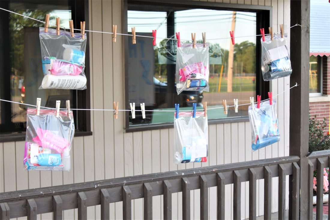 A clothesline project at the Christ Lutheran Church in Bemus Point is providing personal care items for those in need. In the first three weeks, about 40 bags have been collected. P-J photo by Jordan Patterson