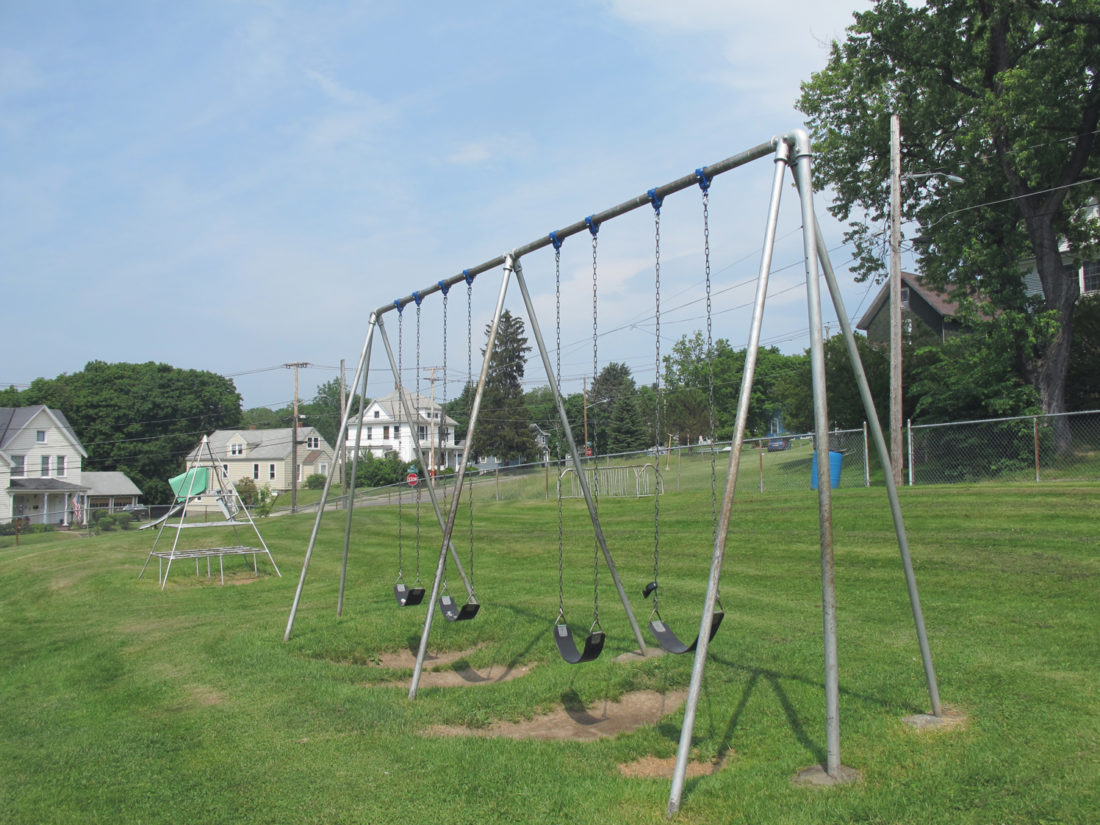 Jamestown Community College and the Jamestown Renaissance Corporation are collaborating to improve the Willard Street playground.  P-J photo by Dennis Phillips