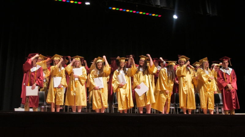 The 2017 Clymer Central School graduating class turns its tassels following the awarding of diplomas. P-J photo by Remington Whitcomb