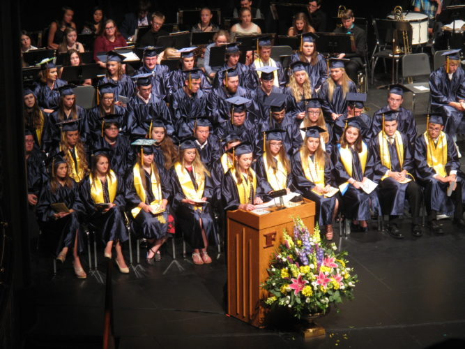 Pictured is Salutatorian Elizabeth Becker addressing Falconer Central School's graduating class of 2017 on Thursday at the Reg Lenna Center for The Arts. P-J photo by A.J. Rao